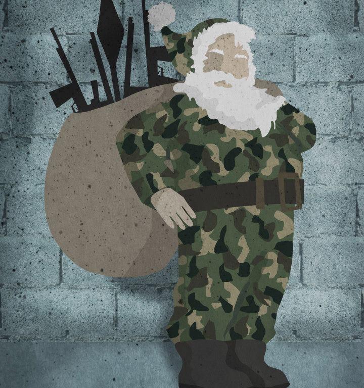 بابا نويل يحمل أسلحة كهدايا – لوحة – سلافة حجازي