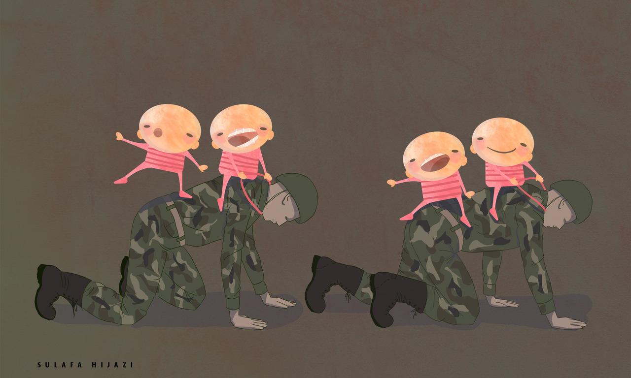أطفال على ظهر جنود – لوحة – سلافة حجازي