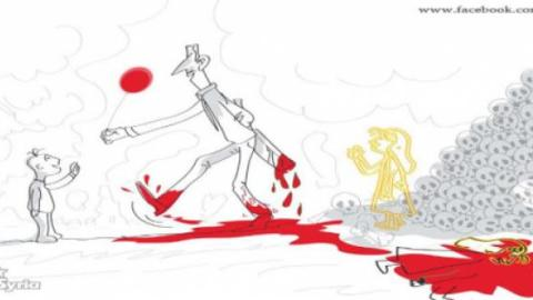 Cartoon depicting Bachar al-Assad walking on a pool of blood and handling a baloon to a child... Source: Comic4Syria facebook site