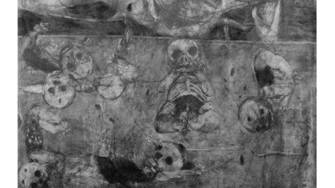 عمل للفنان عمران يونس تحت عنوان لن ننسى. المصدر: الذاكرة الإبداعية للثورة السورية