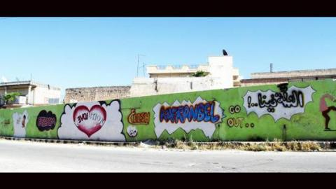 Graffiti covers the walls of Kafranbel. Source: Live Facebook page.