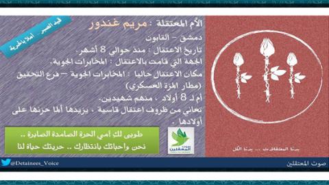 بوستر يوثق حالة المعتقلة مريم غندور. المصدر: الصفحة الرسمية للمجموعة على الفيسبوك