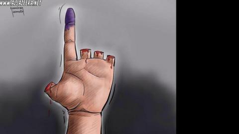 Cartoon on the Syrian elections, by Kamiran Shamdin. Source: The artist's facebook page