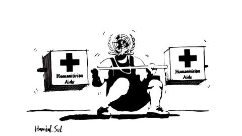 Cartoon on the world's struggle regarding aid delivery to Syria. By Abdulhamid Sulaiman for the UNDelivered campaign