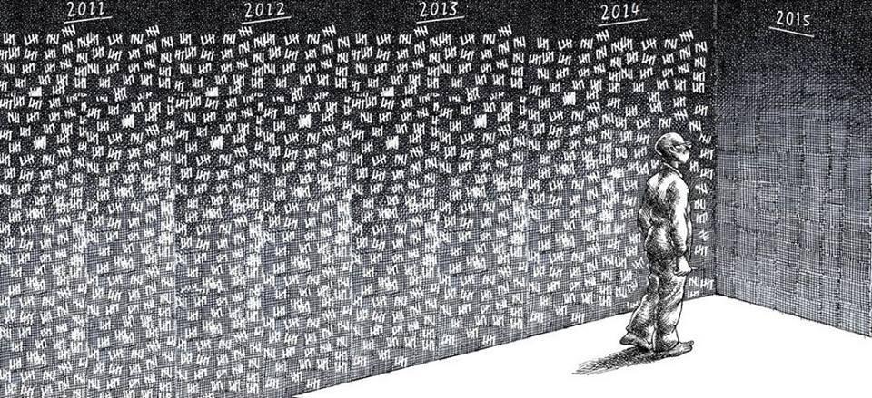 لوحة تشرح وضع المعتقلين السوريين منذ بداية الثورة. المصدر: الصفحة الرسمية لصوت المعتقلين على الفيسبوك