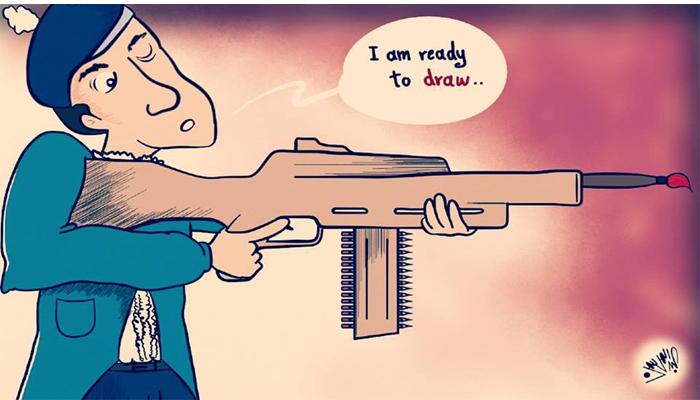 رسم تضامني مع صحيفة شارلي منشور في صحيفة سوريتنا. المصدر: الصفحة الرسمية لصحيفة سوريتنا على الفيسبوك