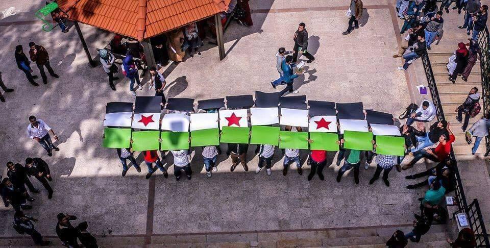 طلاب في جامعة فيلادلفيا يرفعون علم الثورة. المصدر: الصفحة الرسمية للحملة على الفيسبوك