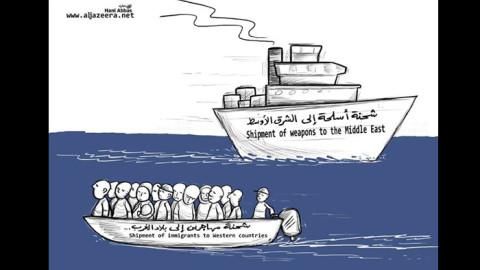 لوحات وكاريكاتير: البحر إذ يتحوّل قبّرا للسوريين