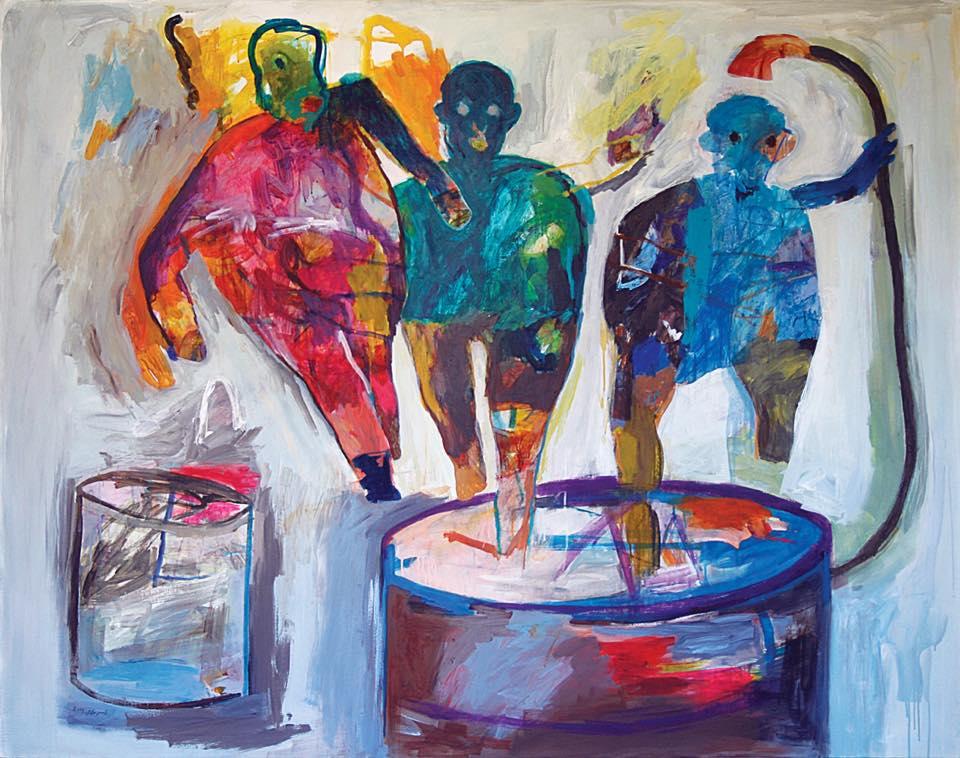"""لوحة بعنوان """"مخيم"""" للفنان ياسر صافي. المصدر: خاص حكاية ما انحكت"""
