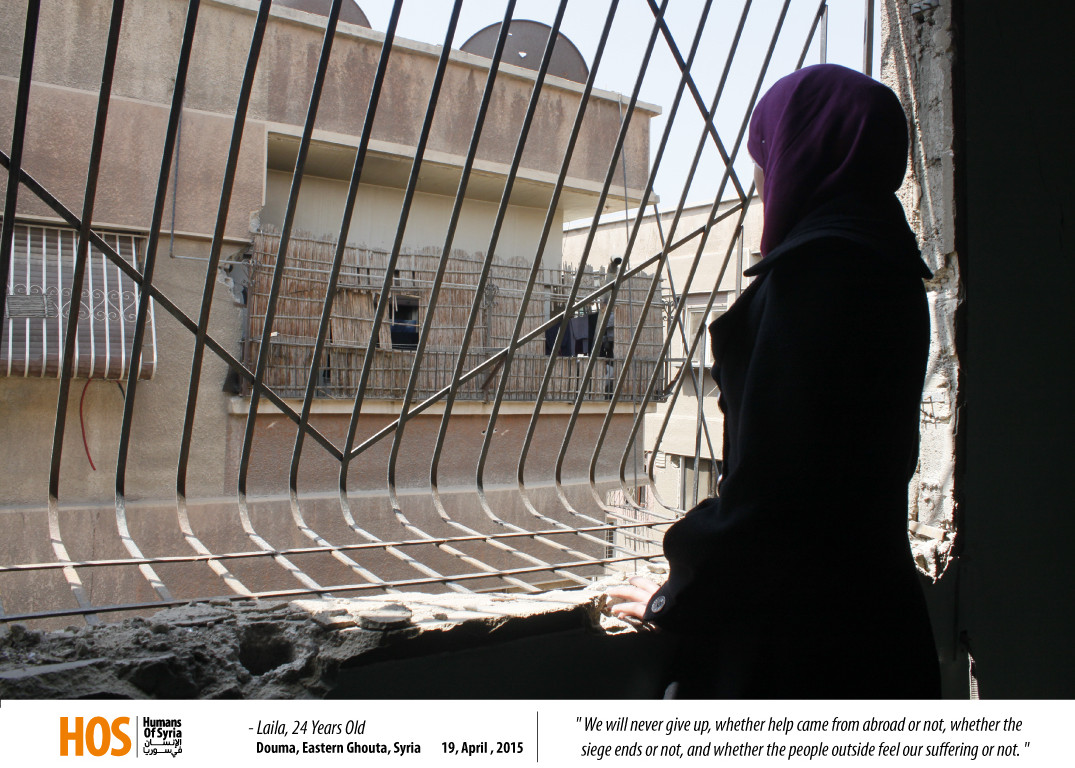 Layla, looking out a window in Ghouta. Source: Humans of Syria
