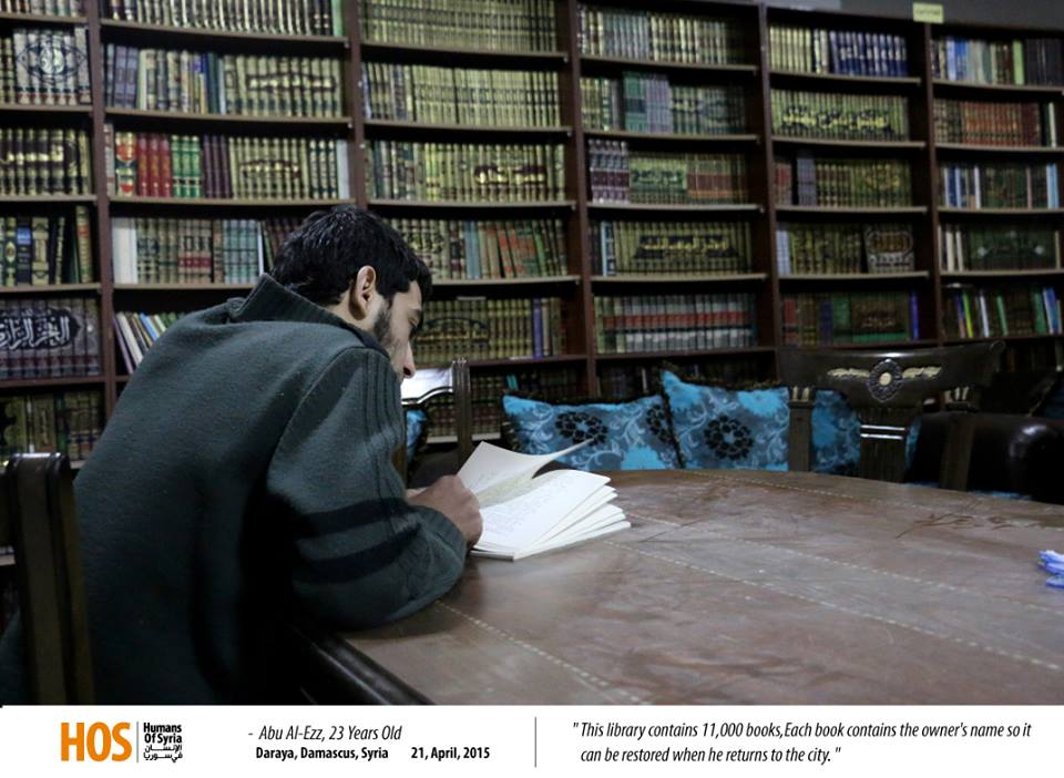 Abu al-Izz, at the public library he helped create in Darayya. Source: Humans of Syria.