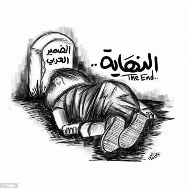 كاريكاتير يوضح مأسان الطفل آلان
