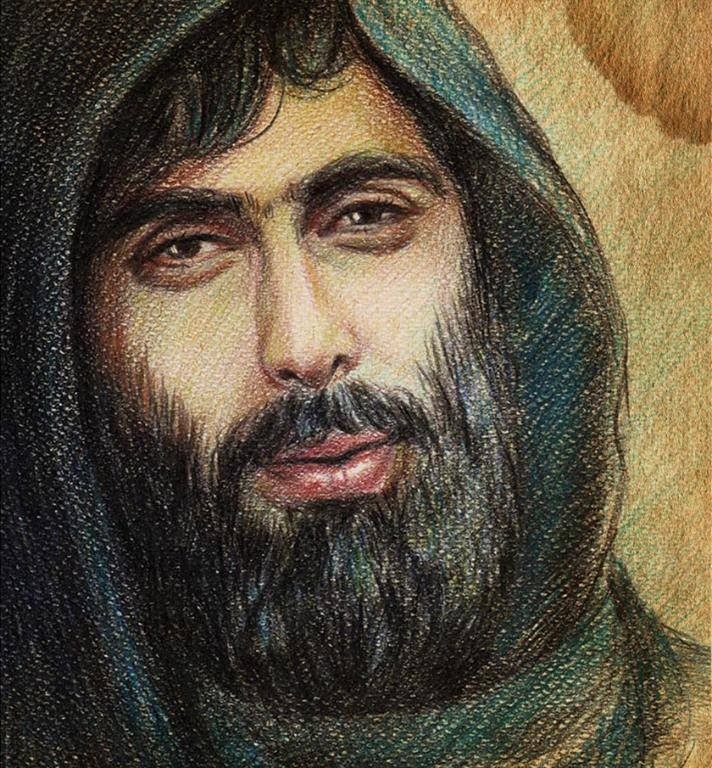 """[The """"martyr"""" Samir Shblout, drawn by his brother Abdur-Rrazzaq Shblout/ Source: Syria Untold]."""