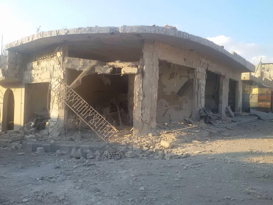[The aftermath of Russian bombardment on the village/ Source: Teir Maalah Direct Facebook Page].