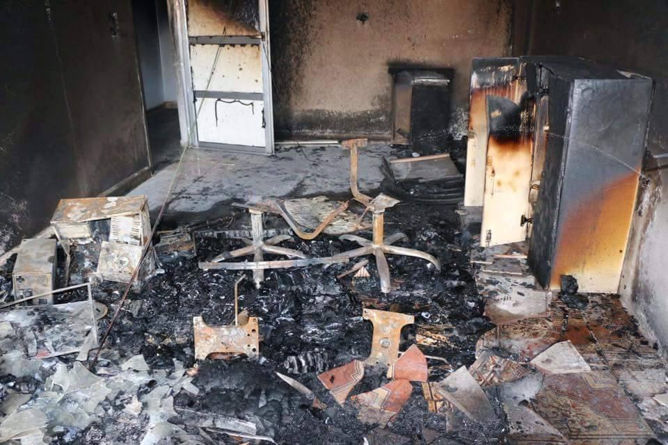 جانب من الحريق، المصدر: موقع باخرة الكورد.