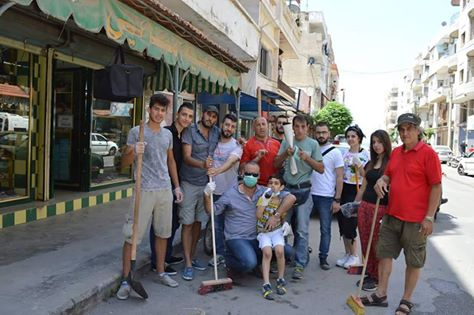 [Photo: Street cleaning campaign organized by ʿObour Association in the aftermath of the Tartus bombings - Tartus - 28-29/5/2016 (ʿObour Association's Facebook page)].