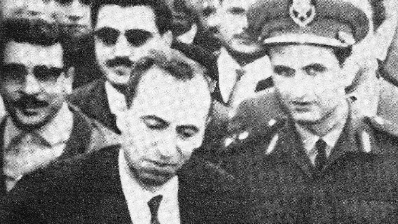 [Photo: Baath Party strongmen Michel Aflaq (left) and Salah Jadid (right) in 1963. This photo was taken shortly after the Baath came to power on March 8, 1963 (Public Domain)].
