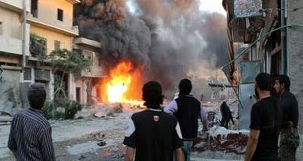 انفجار في حي الحزاونة، منبج حلب، 10 تموز 2016، المصدر: المرصد السوري لحقوق الإنسان.