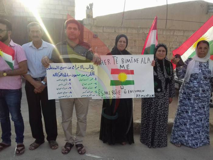 [Photo: From the ad-Darbasiyah sit-in in support of the Kurdish National Council - al-Hasakah province - (Syria Freedom Forever blog)].