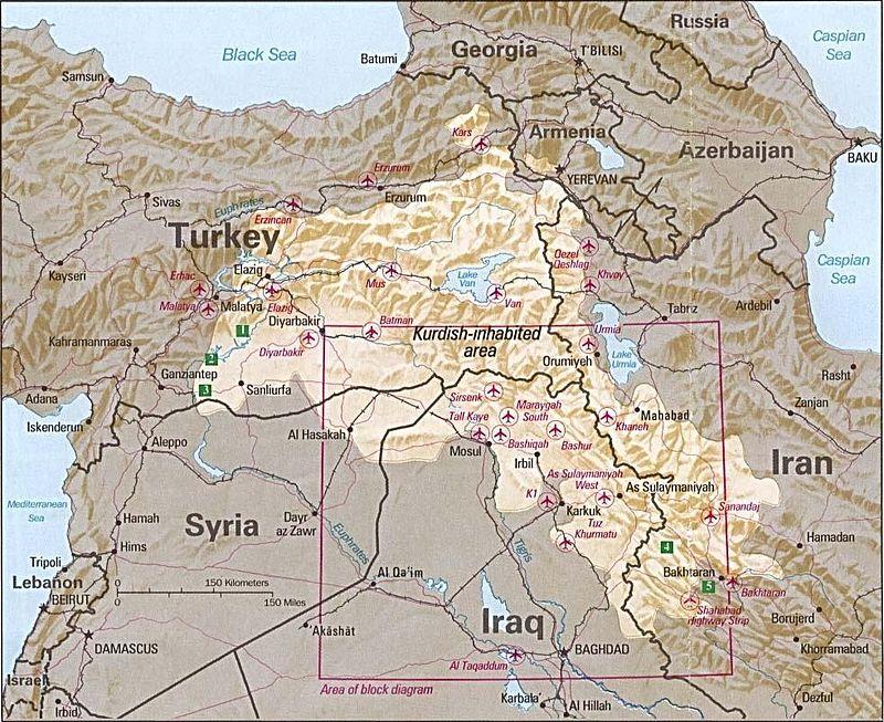 منطقة ذات سكان أكراد (1992/CIA/Public Domain)
