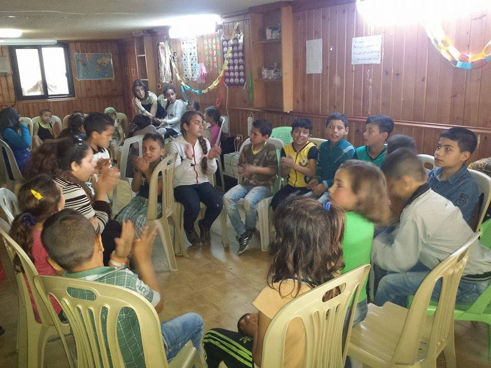 "[Photo: One of the children's activities organized by ʻObour"" for displaced children - Tartus - 13-4-2016 (ʻObour Facebook Page)]."